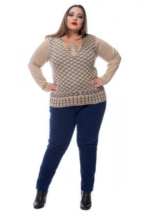 blusa trico jacard losango gola ragada 0203